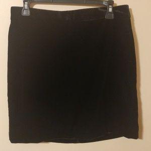 J. Crew Factory Black Velvet Mini Skirt Size 8